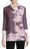 Misook Floral & Striped 3/4-Sleeve Jacket