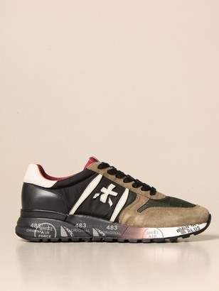 Premiata Lander Sneakers In Suede, Leather And Nylon