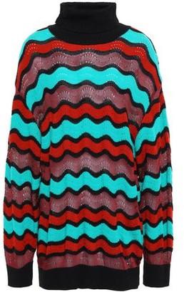 M Missoni Striped Pointelle-knit Cotton-blend Turtleneck Sweater