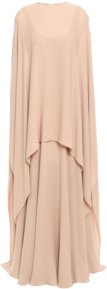 Valentino Cape-effect Draped Silk-crepe Gown