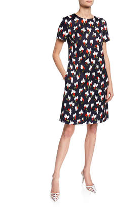 Escada Cap-Sleeve Abstract Floral Dress