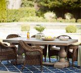 Pottery Barn Scarlett Concrete Rectangular Dining Table & Torrey Roll-Arm Chair Set - Espresso