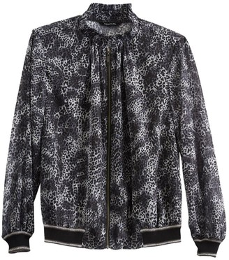 Misook Animal Print Bomber Jacket