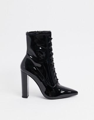 ASOS DESIGN Equals lace up block heel boots in black patent