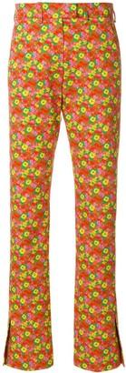 MSGM Slim-Fit Floral Print Trousers
