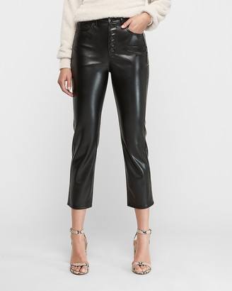 Express Super High Waisted Vegan Leather Button Fly Straight Cropped Pant