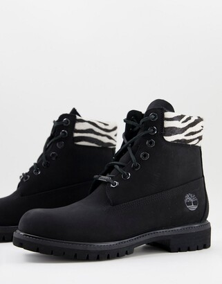 Timberland 6 inch Premium zebra boots in black