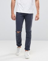 Asos Super Skinny Jeans With Knee Rips In Dark Blue