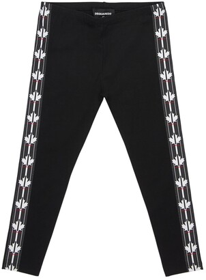 DSQUARED2 Cotton Jersey Leggings W/ Logo Bands