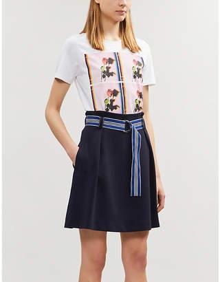 Claudie Pierlot Striped belt high-waisted crepe skirt