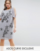 Asos Cold Shoulder Shift Dress With Flower Embellishment