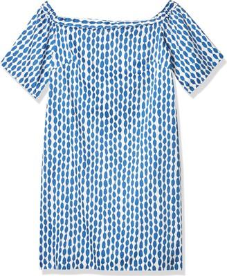 Helene Berman Women's Blue and White Print Off Shoulder Dress XL