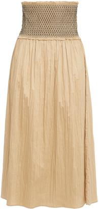 Totême Safara Smocked Crinkled Cotton-sateen Midi Skirt