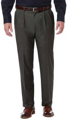Haggar Mens Premium Comfort Expandable-Waist Classic-Fit Stretch Pleated Dress Pants