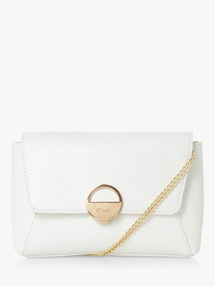 Dune Bethan Leather Clutch Bag, White