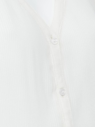 Very Pleated Button Through Blouse - Ivory