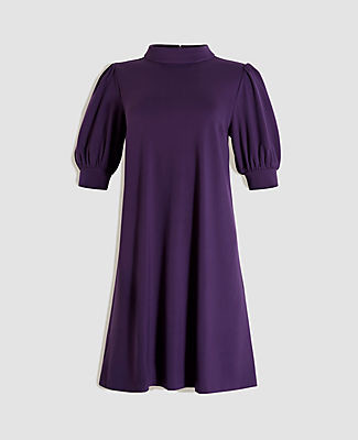 Ann Taylor Puff Sleeve Mock Neck Shift Dress