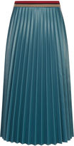 Aviu Teal Faux Leather Pleated Skirt