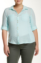 Democracy Roll Sleeve Button Front Blouse (Plus Size)