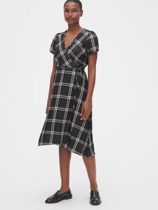 Gap Shimmer Plaid Midi Wrap Dress