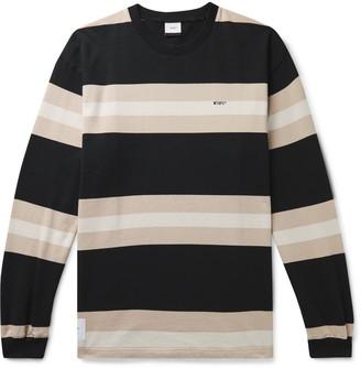 WTAPS Vatos Logo-Embroidered Striped Cotton-Jersey T-Shirt