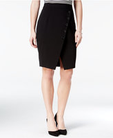 Amy Byer Juniors' Asymmetrical Button-Trim Pencil Skirt