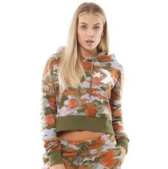 Converse Womens Star Chevron Rose Camo Cropped Fleece Hoodie Teak