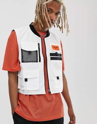 Sixth June cropped utility vest in white