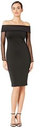 Calvin Klein Sheath Dress with Illusion Sleeve (Black) Women's Dress