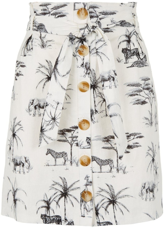 Thumbnail for your product : New Look Palm Animal Print Linen Blend Mini Skirt