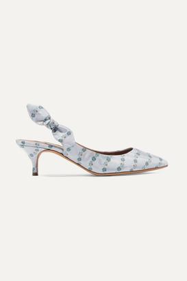 Tabitha Simmons Rise Bow-embellished Floral-jacquard Slingback Pumps - Blue