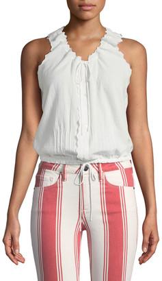Frame V-Neck Tie-Front Sleeveless Cotton Top