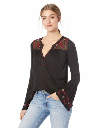 Lucky Brand Women's Embroidered Yoke Peasant TOP