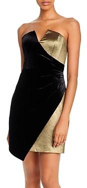BCBGMAXAZRIA Velvet-Paneled Metallic Cocktail Dress