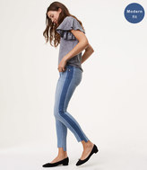 LOFT Modern Side Stripe Step Hem Skinny Jeans in Blocked Indigo Wash