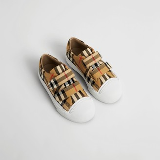 Burberry Childrens Vintage Check and Leather Sneakers