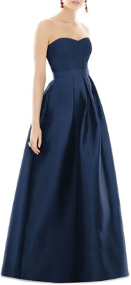 Alfred Sung Strapless Satin Twill A-Line Gown