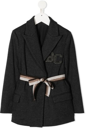 BRUNELLO CUCINELLI KIDS Tie-Waist Virgin Wool Blazer