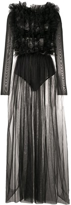 Alchemy Sheer Ruffle Maxi Dress