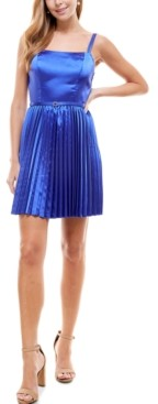 City Studios Juniors' Belted Pleated Fit & Flare Dress