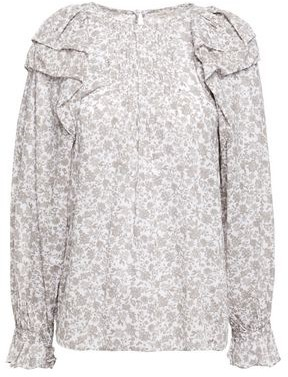 Maje Ruffled Floral-print Cotton Blouse