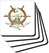 3dRose cst_174330_3 Image of Ships Wheel with Skull and Anchor-Ceramic Tile Coasters, Set of 4