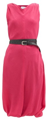 Raey Belted Crinkled-silk Shift Dress - Fuchsia