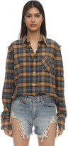 R 13 Distressed Cotton Flannel Shirt
