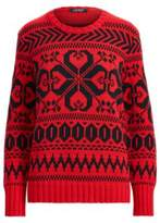 Ralph Lauren Cotton-Blend Crewneck Sweater Lipstick Red/Polo Black Xl