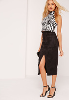 Missguided Split Front Longline Faux Suede Midi Skirt Black