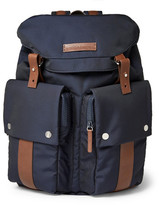 Brunello Cucinelli Leather-trimmed Shell Backpack - Navy