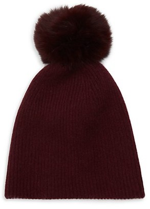 Saks Fifth Avenue Knit Cashmere Faux Fur Pom-Pom Hat