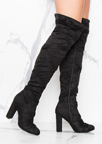 Missy Empire Ivana Black Strap Detailing Over The Knee Heeled Boots