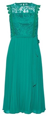 Dorothy Perkins Womens Dp Petite Green Lace Pleat Midi Skater Dress, Green